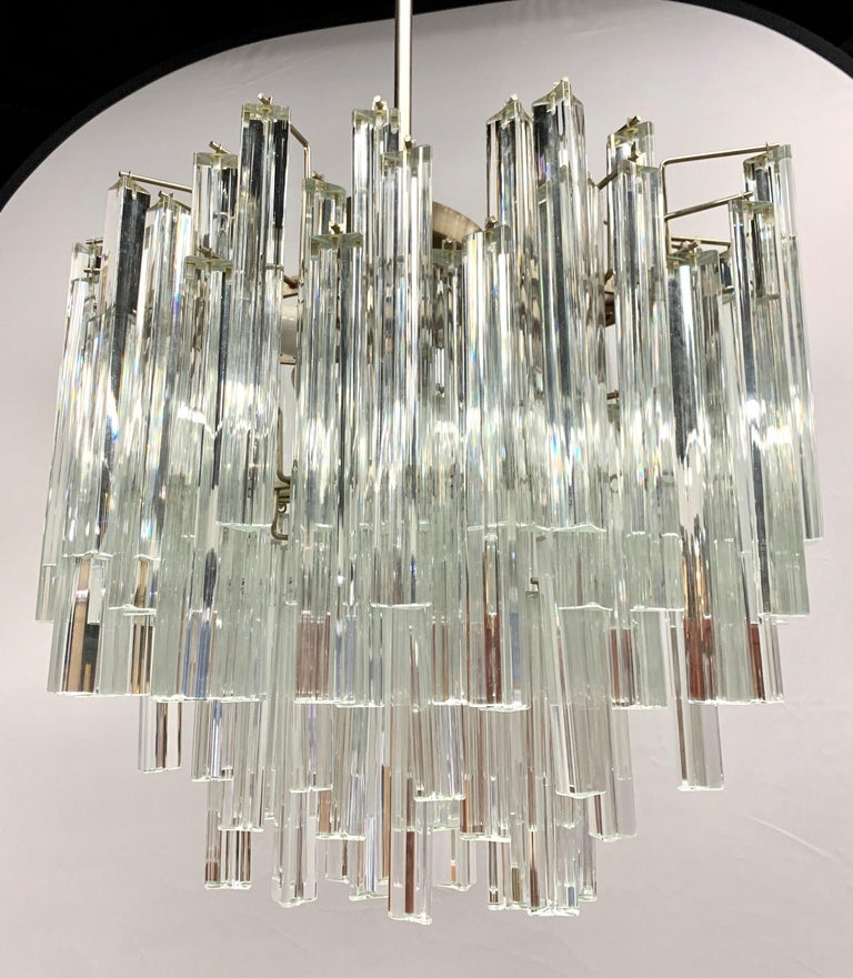 Mid-Century Modern Murano Italy Camer Glass Chandelier In Good Condition In West Hartford, CT