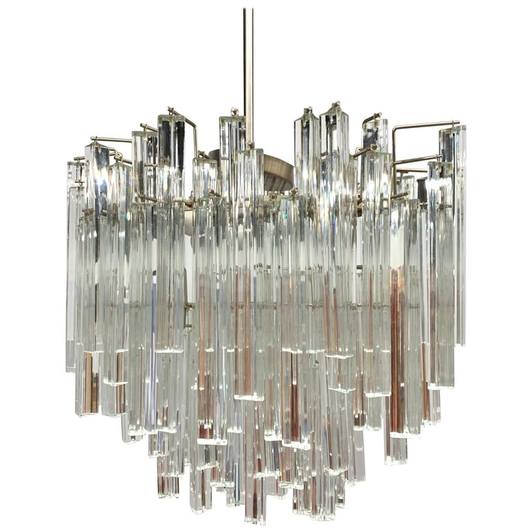 Mid-Century Modern Murano Italy Camer Glass Chandelier