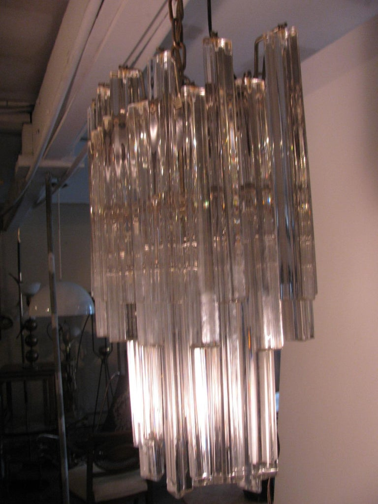 Hand-Crafted Mid-Century Modern Murano Oval Chandelier by Camer For Sale