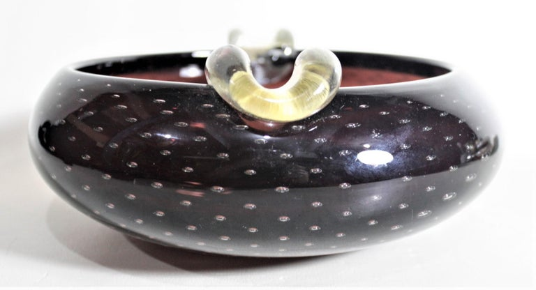 20th Century Mid-Century Modern Murano Seguso Styled Amethyst Art Glass Cigar Ashtray For Sale