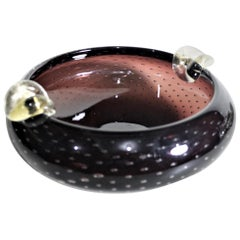 Mid-Century Modern Murano Seguso Styled Amethyst Art Glass Cigar Ashtray