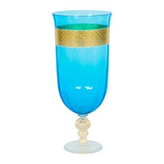 Mid-Century Modern Murano Stemware Glass with Gold Finishes, Blue Color, Italy