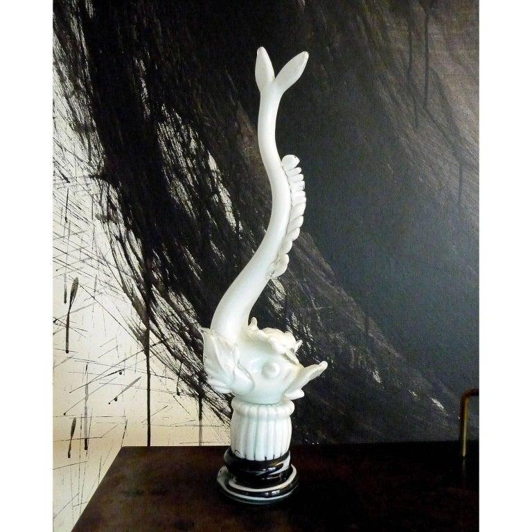 Italian Mid-Century Modern Murano, Venini, Glass Dolphin Figurine, Napoleone Martinuzzi For Sale