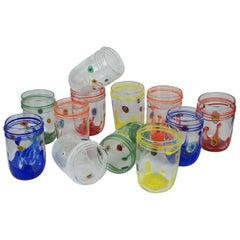 Mid-Century Modern Murrina Millefiori Set of 12 Murano Drinking Glasses Tumbler