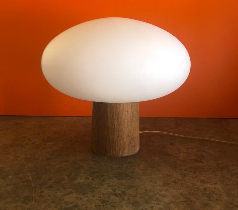 American Mid-Century Modern Mushroom Table Lamp on Solid Teak Base by Laurel Lamp Co.