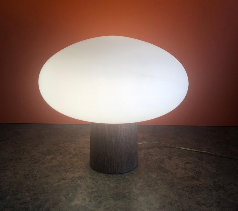 Mid-Century Modern Mushroom Table Lamp on Solid Teak Base by Laurel Lamp Co. 1