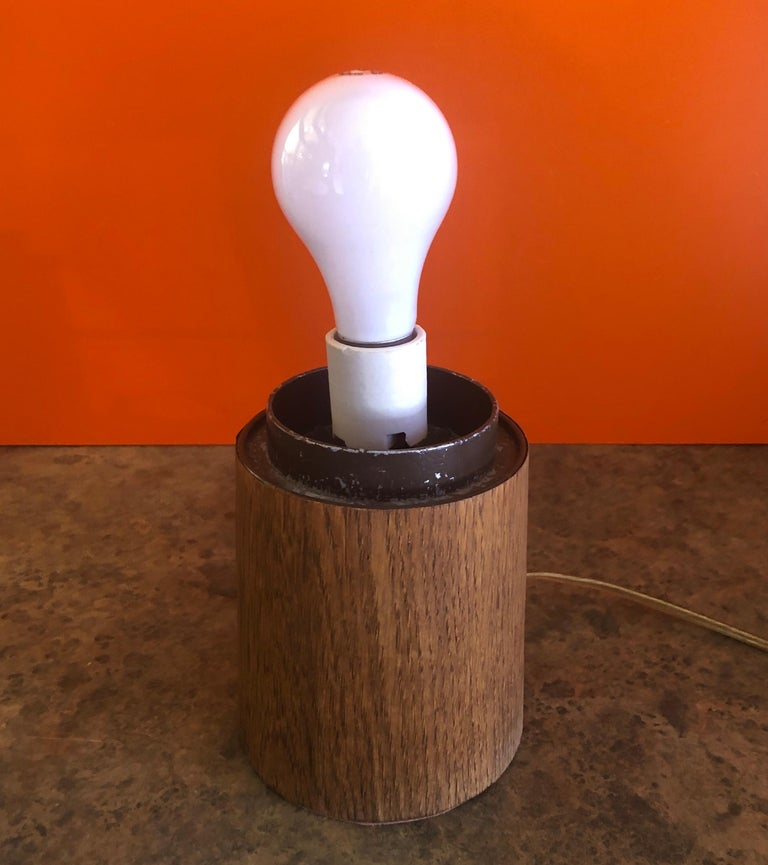 Mid-Century Modern Mushroom Table Lamp on Solid Teak Base by Laurel Lamp Co. 3