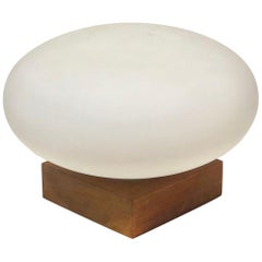 Mid-Century Modern Mushroom Table Lamp on Solid Walnut Base