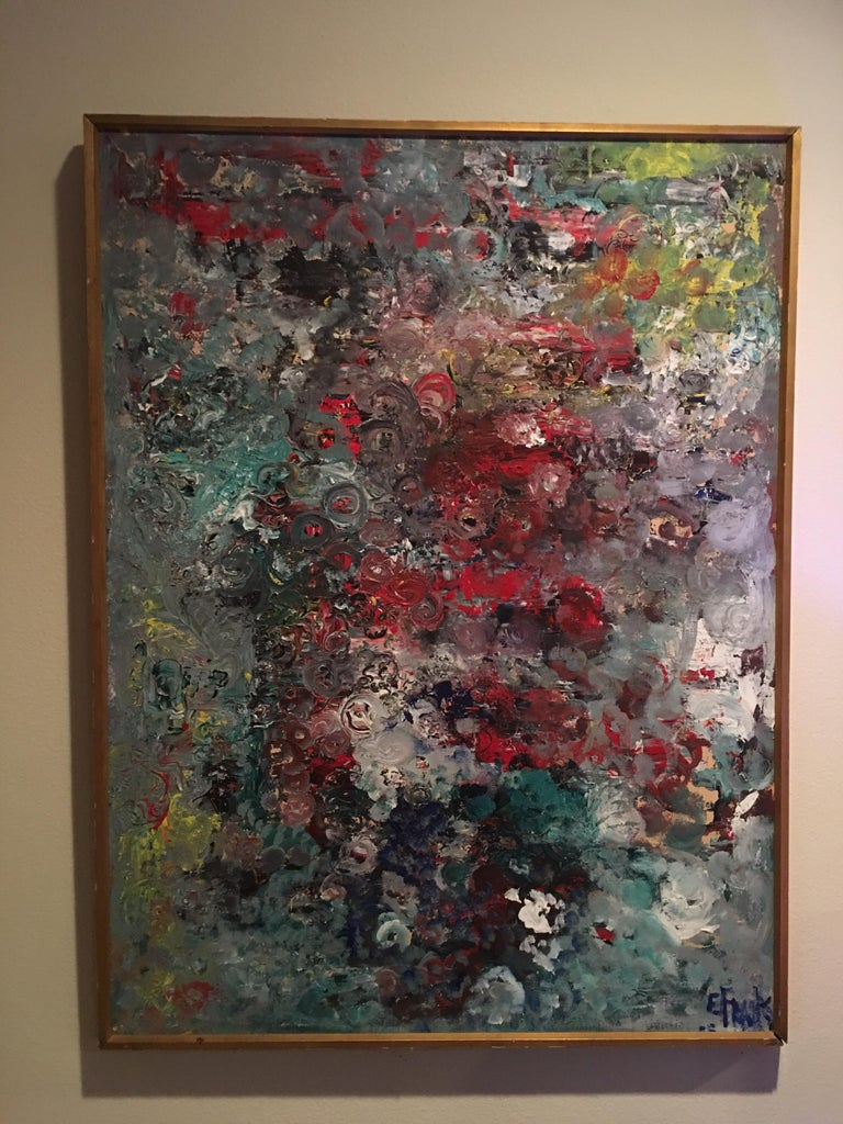 This lovely Mid-Century Modern painting came from a Palm Springs residence and obtains its simple but beautiful original gold wood frame. Some people see it as a very dimensional floral but it is indeed a modern abstract done in beautiful multi