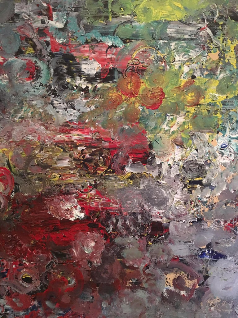 American Mid-Century Modern Muti Colored Abstract Painting by E. Frank  For Sale