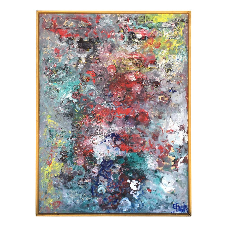 Mid-Century Modern Muti Colored Abstract Painting by E. Frank  For Sale