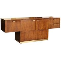 Mid-Century Modern Myrtle Desk Cantilever Credenza Walnut Brass, 1960s