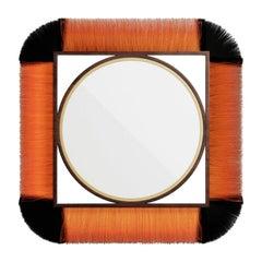 21th Century Modern Bohemian Square Wall Mirror in Natural Black & Orange Fiber