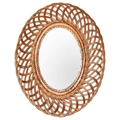 Mid-Century Modern Natural Fiber Oval Wall Mirror, France, 1960