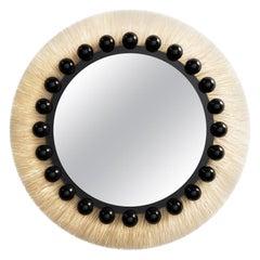 Mid-Century Modern Natural Fiber Round Mirror with Black Details