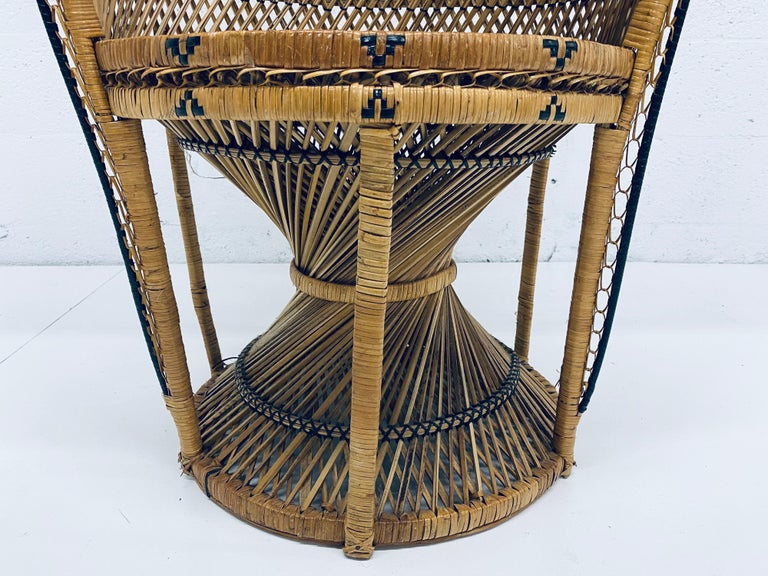 Mid-Century Modern Natural Rattan Emmanuel Style Peacock Chair, 1970s For Sale 5