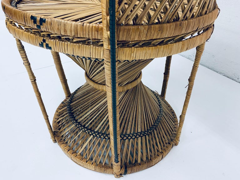 Mid-Century Modern Natural Rattan Emmanuel Style Peacock Chair, 1970s For Sale 9