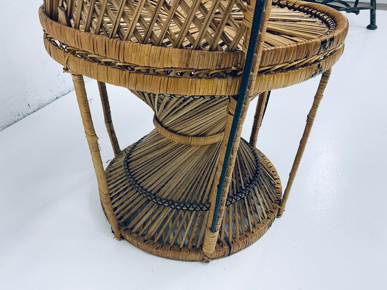 Mid-Century Modern Natural Rattan Emmanuel Style Peacock Chair, 1970s For Sale 10