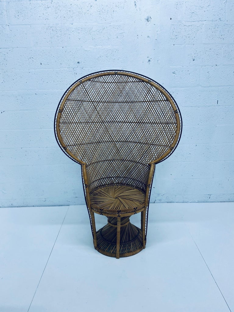 Mid-Century Modern Natural Rattan Emmanuel Style Peacock Chair, 1970s For Sale 13