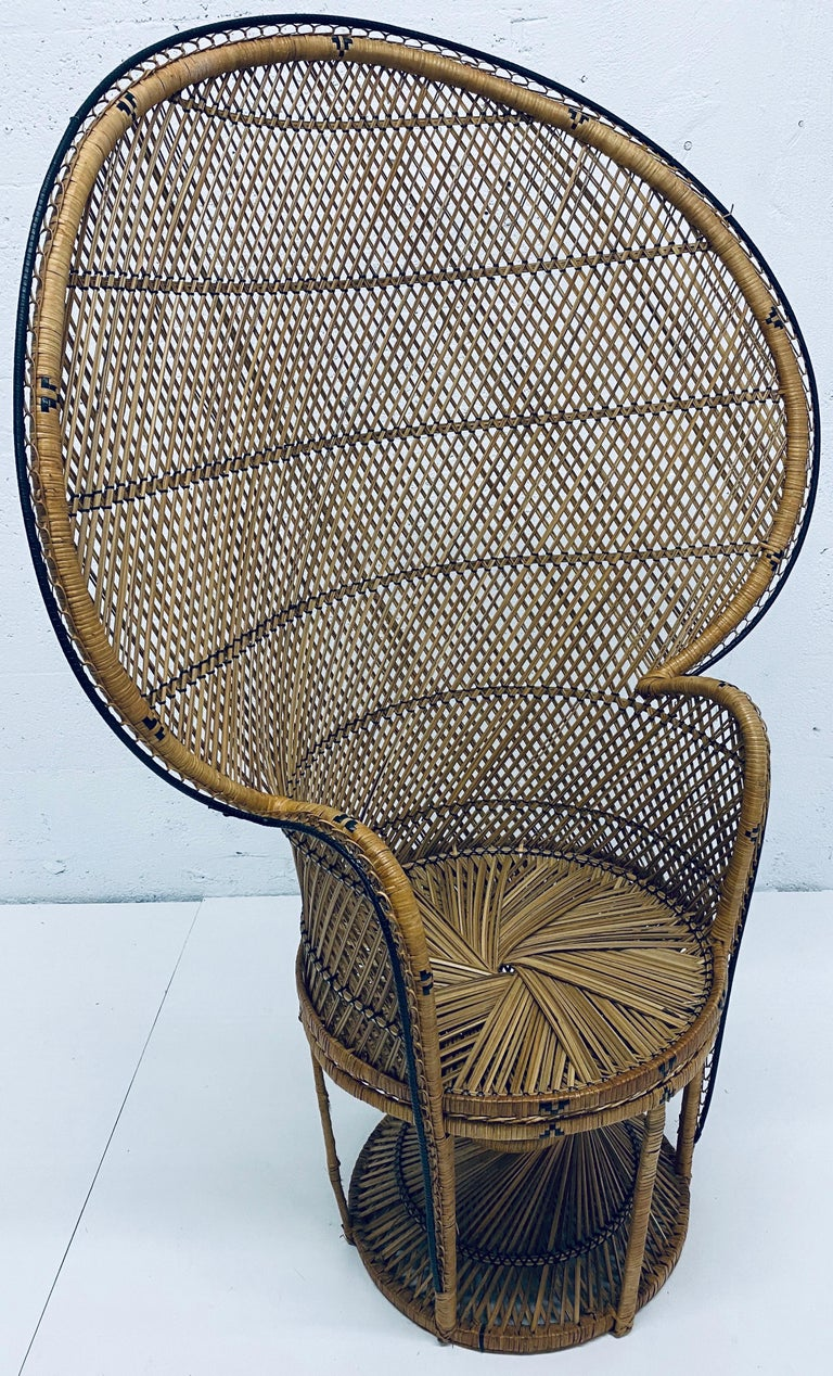 Mid-Century Modern Natural Rattan Emmanuel Style Peacock Chair, 1970s For Sale 14