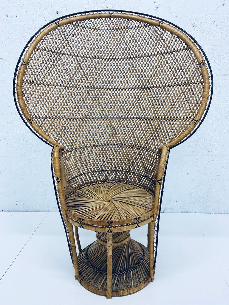 Vintage peacock chair in rattan from the 1970s. Rattan is in excellent condition with only minor wear.
