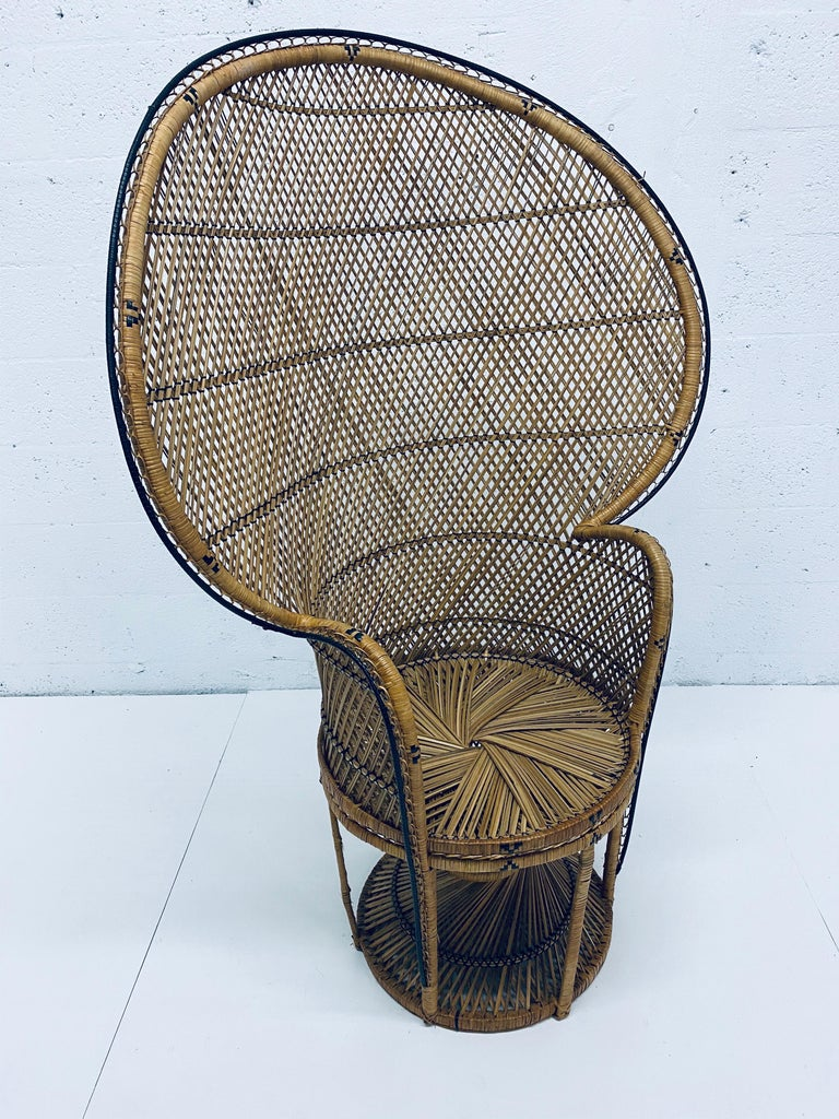 Unknown Mid-Century Modern Natural Rattan Emmanuel Style Peacock Chair, 1970s For Sale