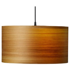 Mid-Century Modern Natural Wood Veneer Drum Pendant