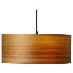 Mid-Century Modern Natural Wood Veneer Drum Pendant