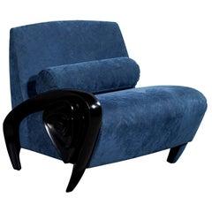 Mid-Century Modern Navy Scroll Arm Parlor Chair
