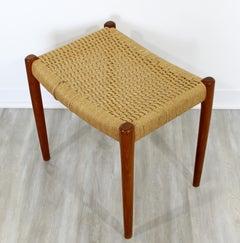 Mid-Century Modern Neils Moller Danish Rope Teak Bench Seat Footstool, 1960s