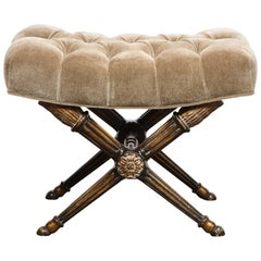 Mid-Century Modern Neoclassical Gilded X Form Channeled Bench in Mushroom Mohair