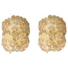Mid-Century Modern Pair of Murano Glass Gold Flower Sconces, by Barovier, Italy
