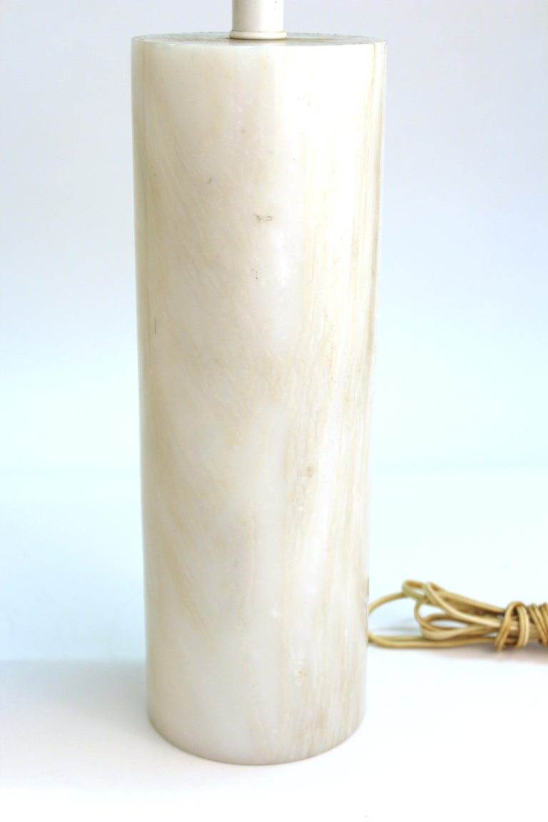 American Mid-Century Modern Nessen Table Lamps in White Marble For Sale