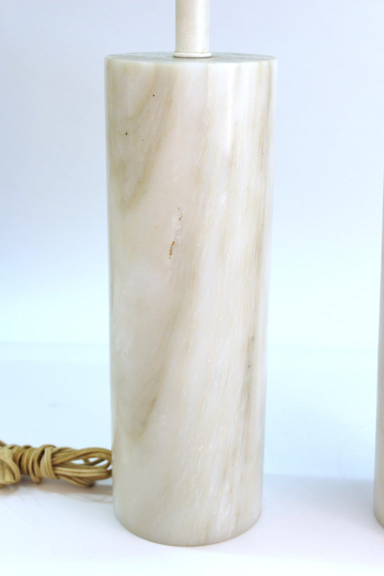 Mid-Century Modern Nessen Table Lamps in White Marble In Good Condition For Sale In New York, NY