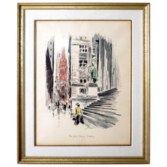 Mid-Century Modern New York Treasury Building Silkscreen John Haymson Wall Art