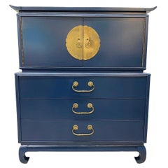 Mid-Century Modern Blue Lacquered Chinoiserie Chest Wardrobe Dresser