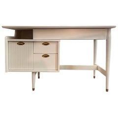 Mid-Century Modern Newly Lacquered in White Signed Writing Table Furniture Desk
