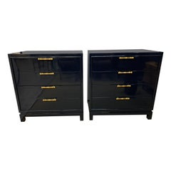 Mid-Century Modern Newly Lacquered Navy Blue Chests of Drawers Dressers