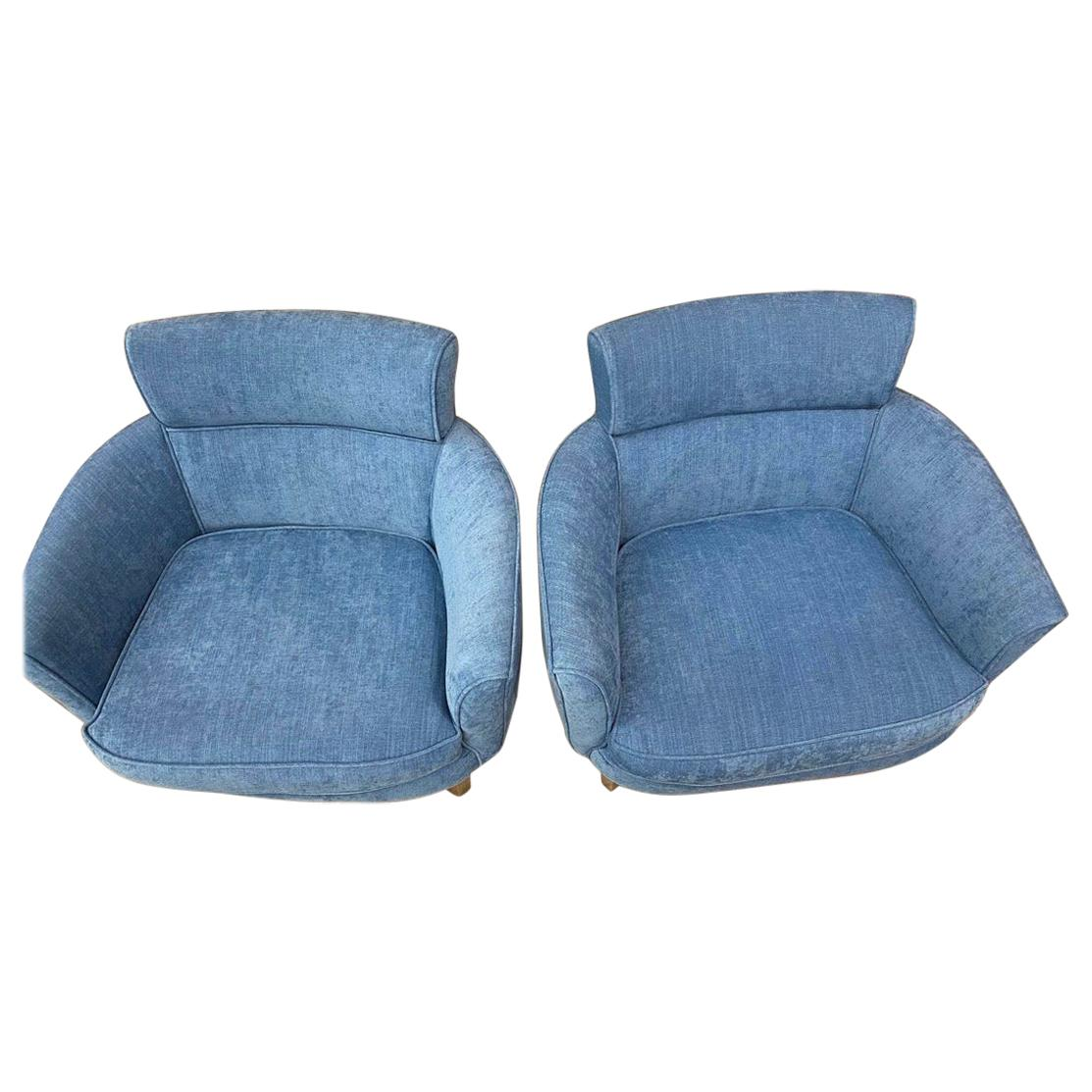 Mid-Century Modern Newly Upholstered Blue Cotton Denim Lounge Chairs