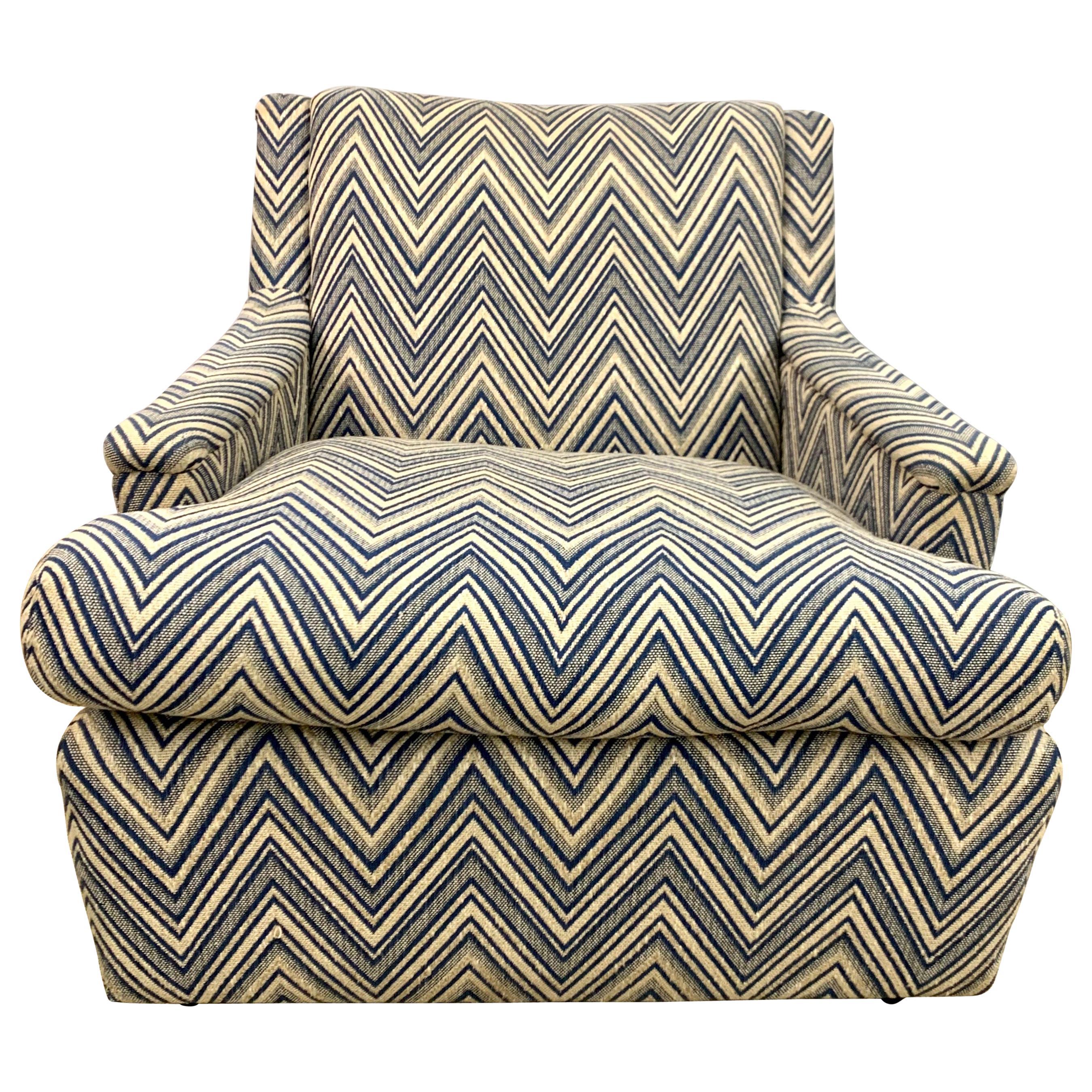 Mid-Century Modern Newly Upholstered Chevron Arm Chair Armchair