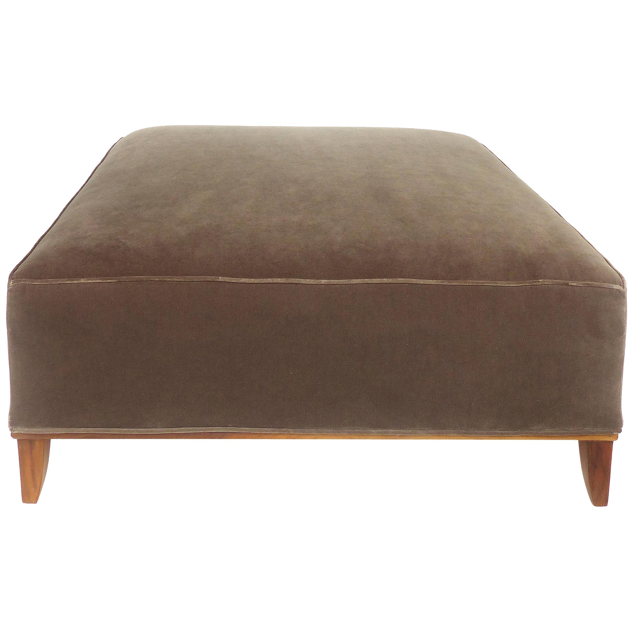 Mid-Century Modern Newly Upholstered Ottoman in Mohair with Wood Base