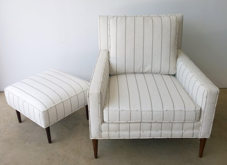 New White with Gray Stripe Upholstery Paul McCobb Arm or Lounge Chair with Stool For Sale 3