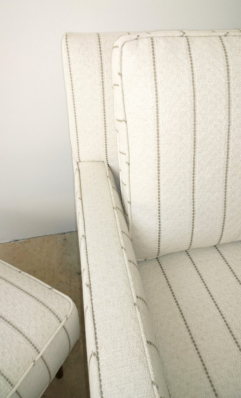 New White with Gray Stripe Upholstery Paul McCobb Arm or Lounge Chair with Stool For Sale 4