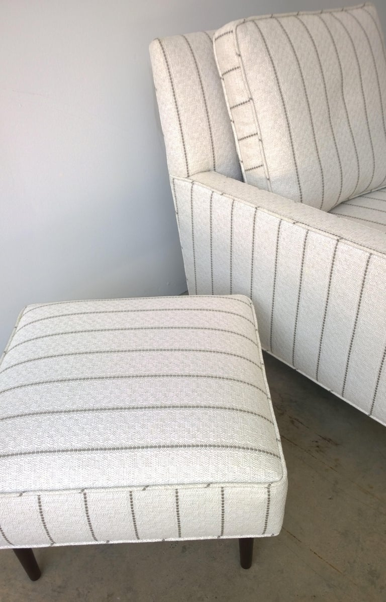 New White with Gray Stripe Upholstery Paul McCobb Arm or Lounge Chair with Stool For Sale 6