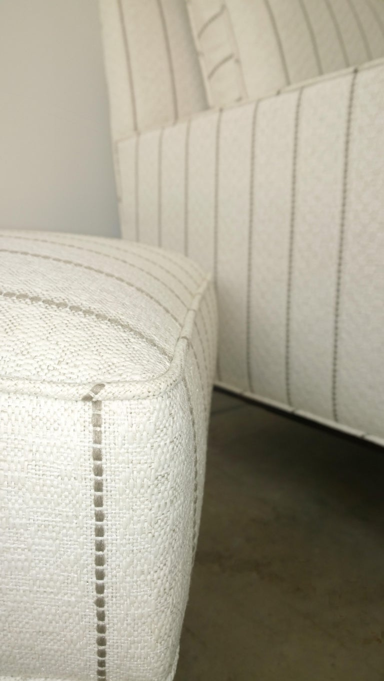 New White with Gray Stripe Upholstery Paul McCobb Arm or Lounge Chair with Stool For Sale 7