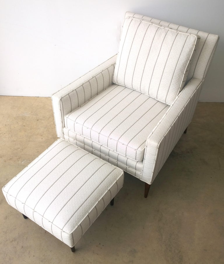 Mid-Century Modern New White with Gray Stripe Upholstery Paul McCobb Arm or Lounge Chair with Stool For Sale