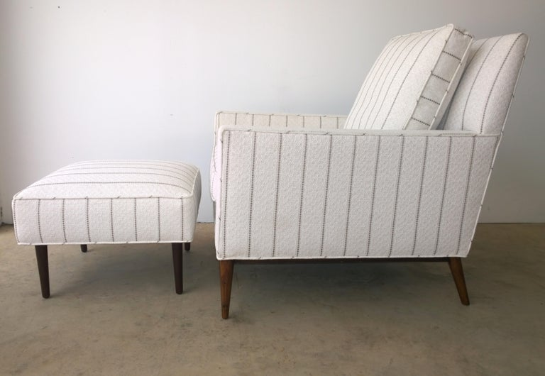 American New White with Gray Stripe Upholstery Paul McCobb Arm or Lounge Chair with Stool For Sale