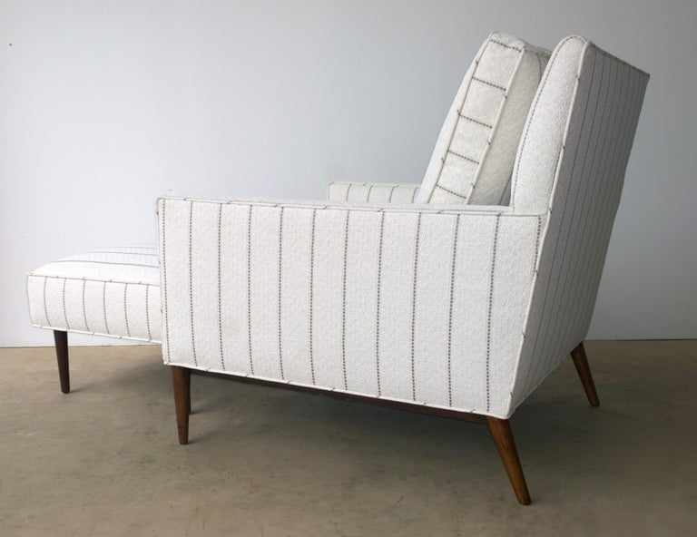 New White with Gray Stripe Upholstery Paul McCobb Arm or Lounge Chair with Stool In Good Condition For Sale In Houston, TX