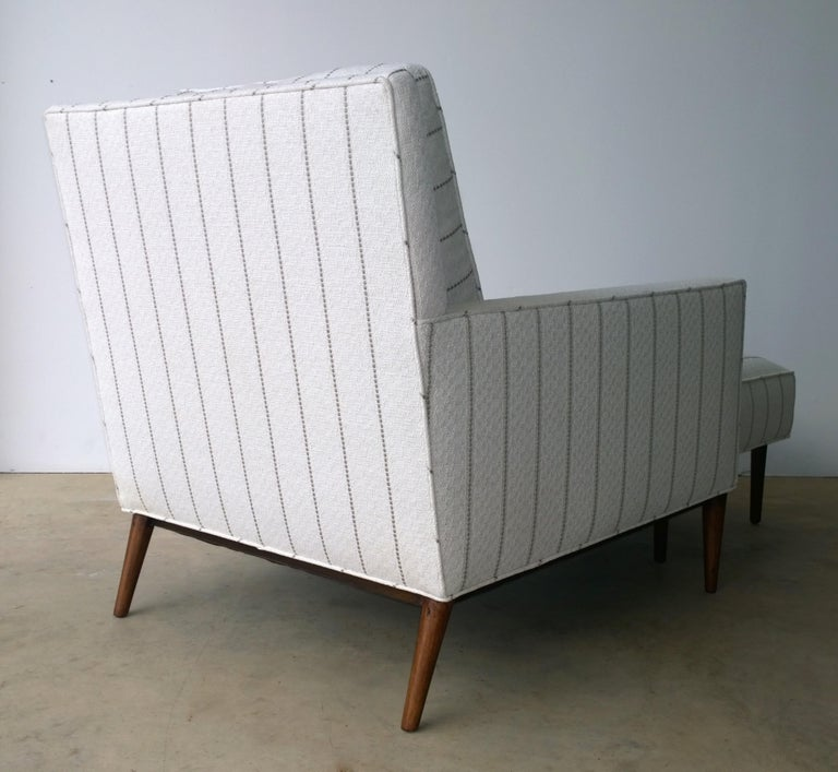 New White with Gray Stripe Upholstery Paul McCobb Arm or Lounge Chair with Stool For Sale 1
