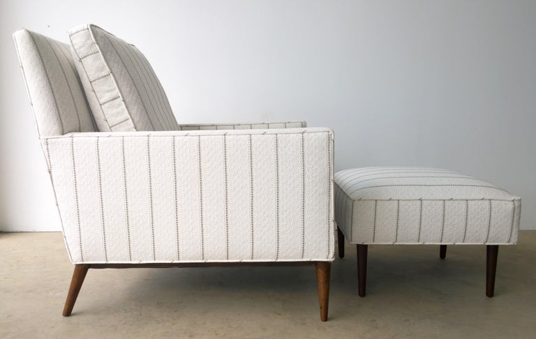 New White with Gray Stripe Upholstery Paul McCobb Arm or Lounge Chair with Stool For Sale 2